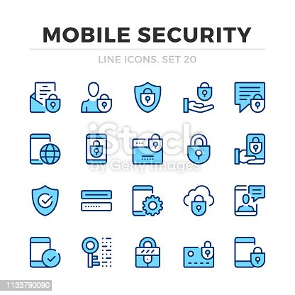 istock Mobile security vector line icons set. Thin line design. Outline graphic elements, simple stroke symbols. Mobile security icons 1133790090