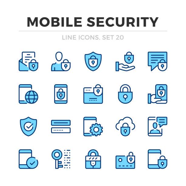 bildbanksillustrationer, clip art samt tecknat material och ikoner med mobil säkerhet vektor linje ikoner som. tunn linje design. skissera grafiska element, enkla linje symboler. ikoner för mobil säkerhet - logga in
