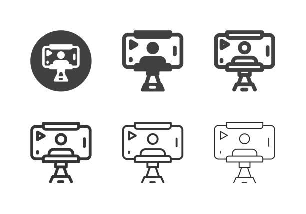 Mobile Selfie Record Icons - Multi Series vector art illustration