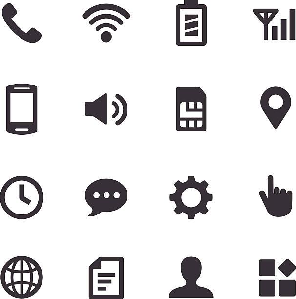 ilustrações, clipart, desenhos animados e ícones de configuração de celular ícones-acme series - pilha arranjo