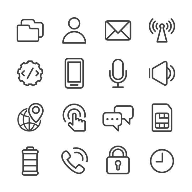 bildbanksillustrationer, clip art samt tecknat material och ikoner med mobila inställningen ikoner - line serien - alarm clock
