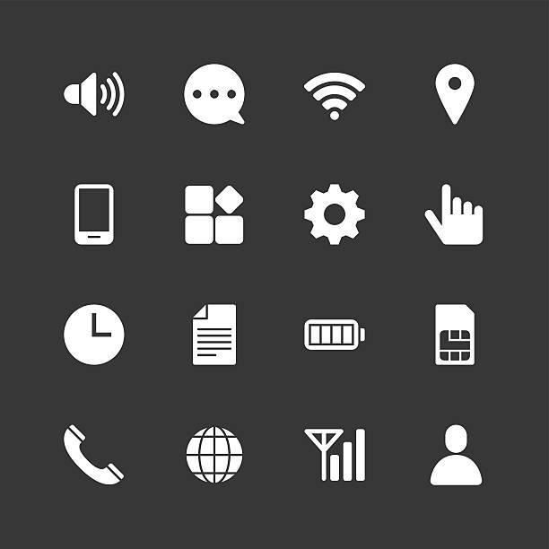 ilustrações, clipart, desenhos animados e ícones de configuração de celular ícones-normal branco série - pilha arranjo