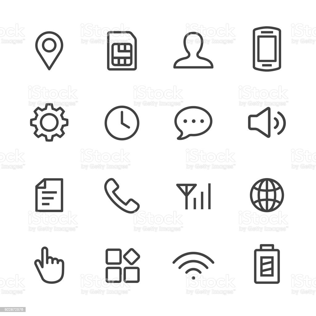 Mobile Setting Icons Set - Line Series vector art illustration