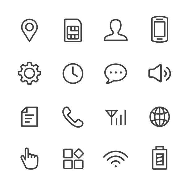 Mobile Setting Icons Set - Line Series Mobile, Setting, control, control panel arrange stock illustrations