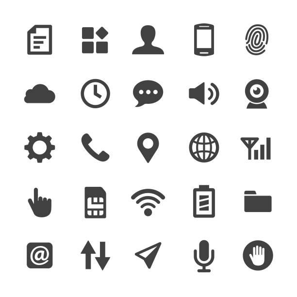 ilustrações, clipart, desenhos animados e ícones de mobile, definindo o conjunto de ícones - série smart - pilha arranjo