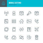 Mobile Setting - set of thin line vector icons.