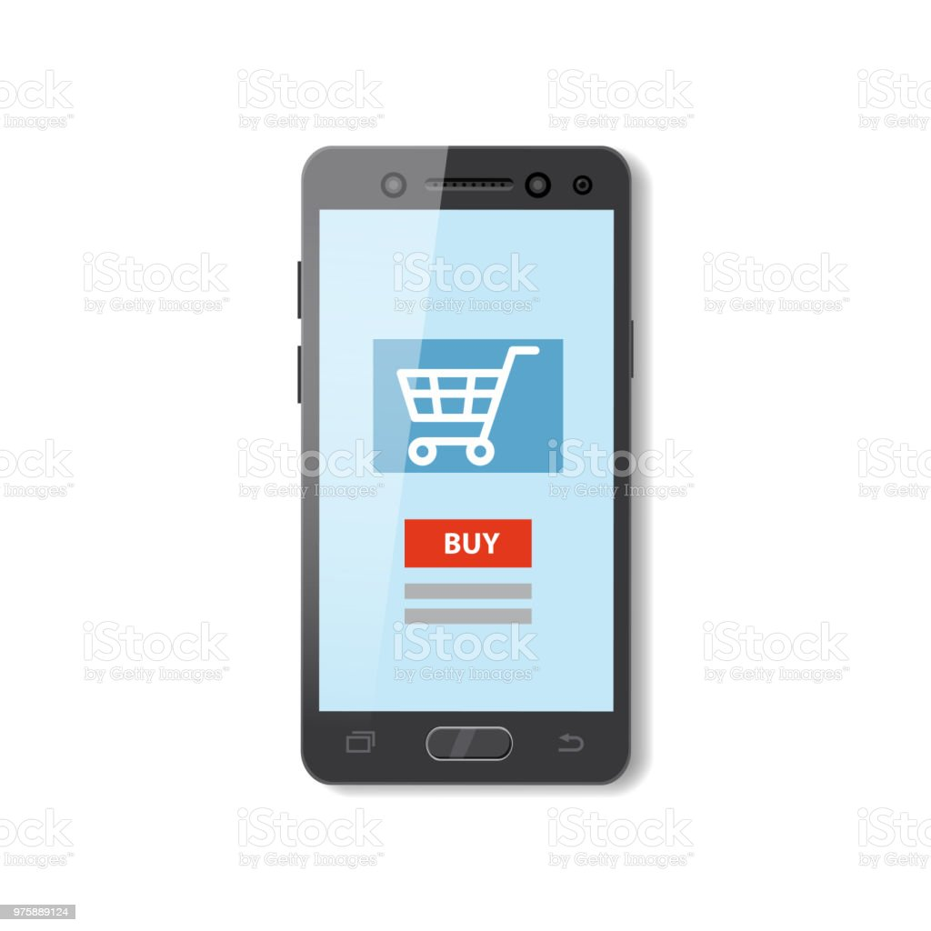 Mobile Shopping Ecommerce Online Supermarket Store Cartoon Concept