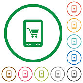 Mobile shopping flat icons with outlines