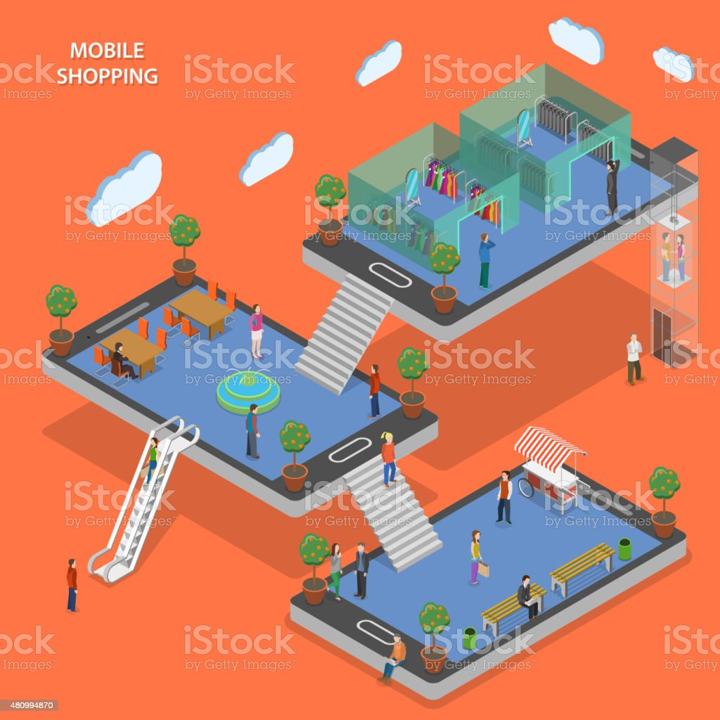 Mobile shopping flat isometric vector concept. vector art illustration