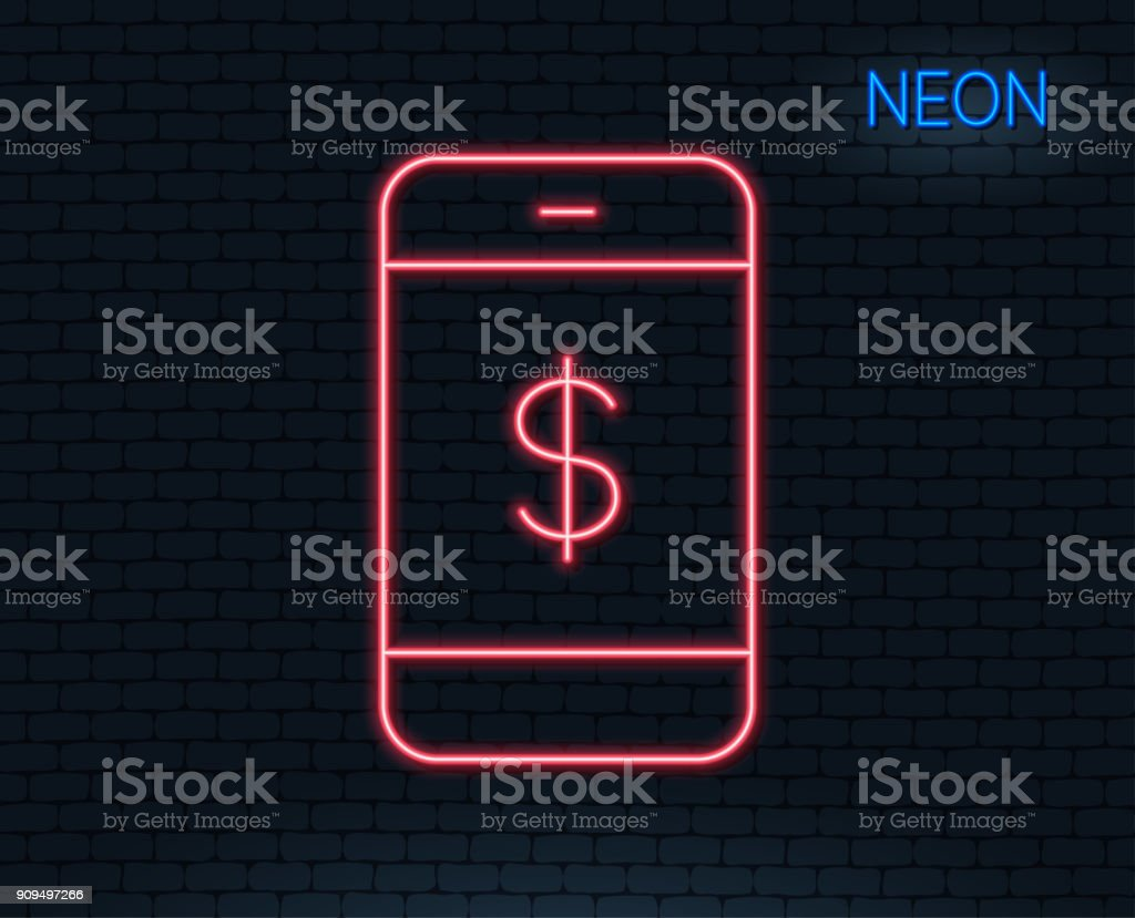 Mobile Shopping Line Icon Online Buying Stock Vector Art