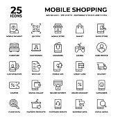 Mobile Shopping Vector Style Thin Line Icons on a 32 pixel grid with 1 pixel stroke width. Unique Style Pixel Perfect Icons can be used for infographics, mobile and web and so on.