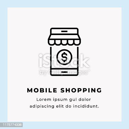Mobile Shopping Vector Illustration Icon Design on Blue Background