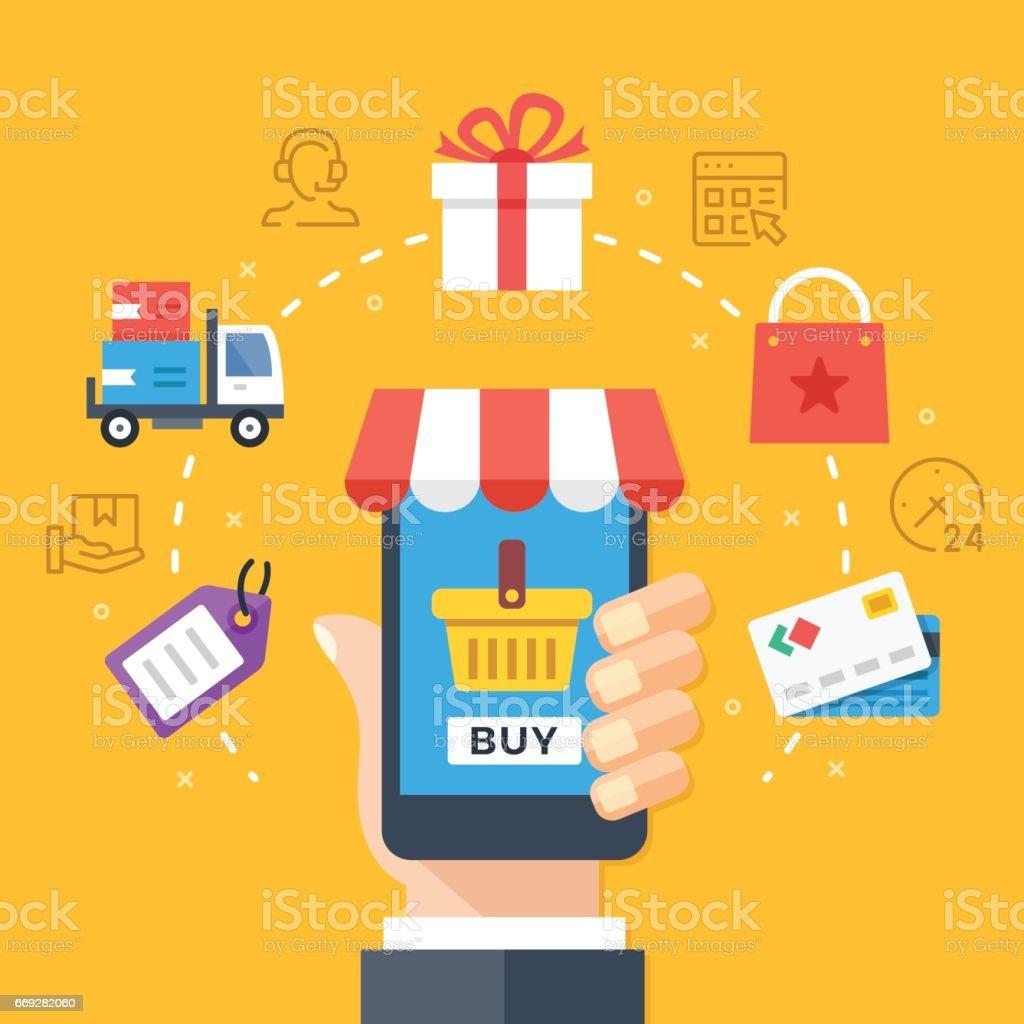 Mobile shopping, mobile-Commerce-Konzepte. Hand mit Smartphone mit Checkout-Seite. Modernes flaches Design grafische Elemente, legen Sie dünne Linie Symbole. Vektor-illustration – Vektorgrafik