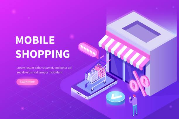 ilustrações de stock, clip art, desenhos animados e ícones de mobile shopping - online shopping