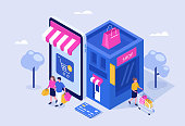 Mobile shopping concept. Can use for web banner, infographics, hero images. Flat isometric vector illustration isolated on white background.
