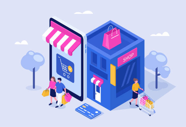 illustrazioni stock, clip art, cartoni animati e icone di tendenza di mobile shopping - acquisti