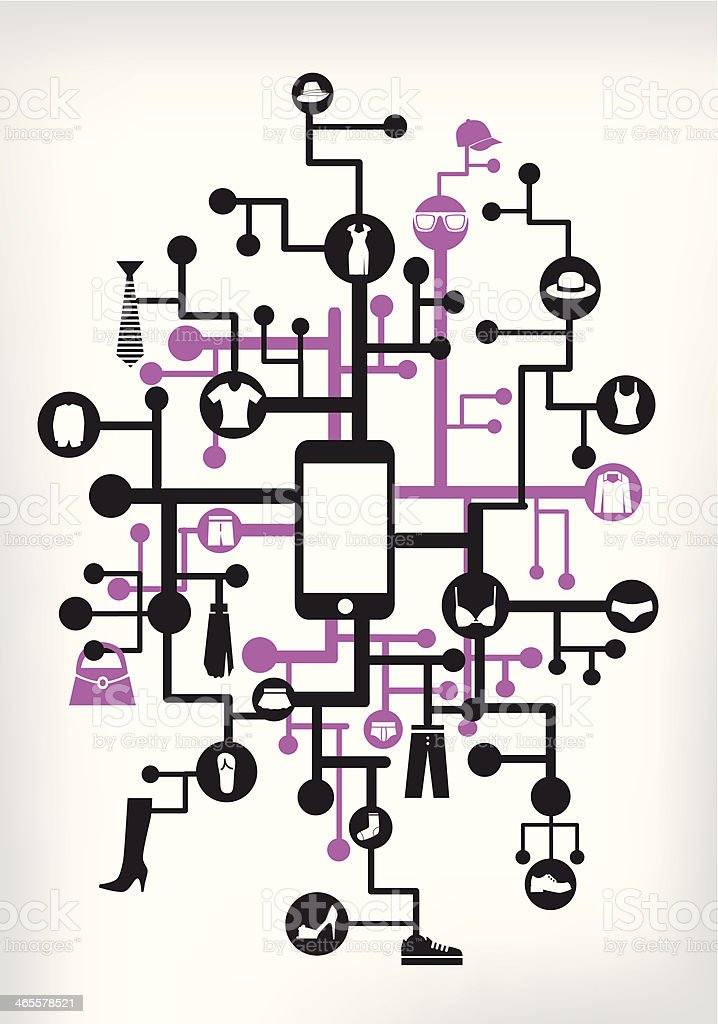 mobile shopping royalty-free stock vector art
