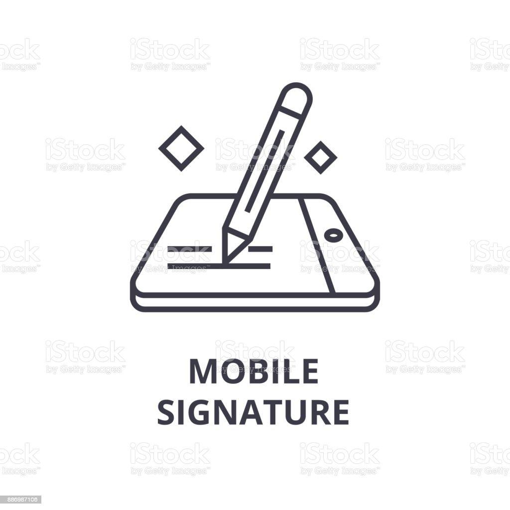 ícone de linha de assinatura móvel, sinal de contorno, símbolo linear, vetorial, ilustração plana - ilustração de arte em vetor