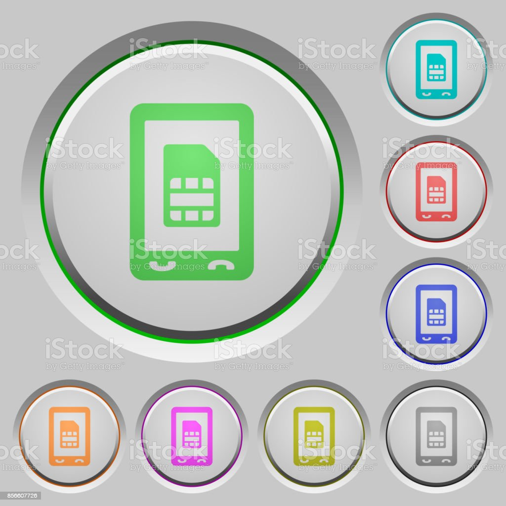 Mobile sim card push buttons vector art illustration