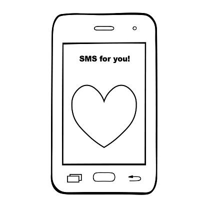 Mobile Smartphone Sms Pour Vous Telephone De Contour Sur Un Fond Isole Blanc Vector Livre De Coloriage Pour Enfants Et Adultes Vecteurs Libres De Droits Et Plus D Images Vectorielles De Affaires