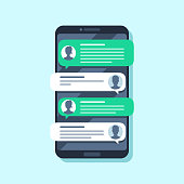 Mobile sms notifications. Hand texting message on smartphone, people chatting. Conversion messaging text, talking chat or sms mailing bubble. Conversation flat vector illustration