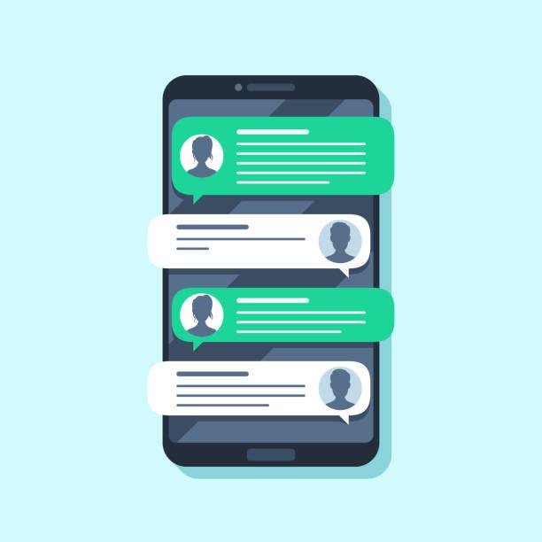 mobile sms-benachrichtigungen. hand-sms-nachricht auf smartphone, menschen im chat. umbau-flache vektor-illustration - sms stock-grafiken, -clipart, -cartoons und -symbole
