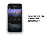 istock Mobile Social Media Video Feed Vector UI Concept 1093962278