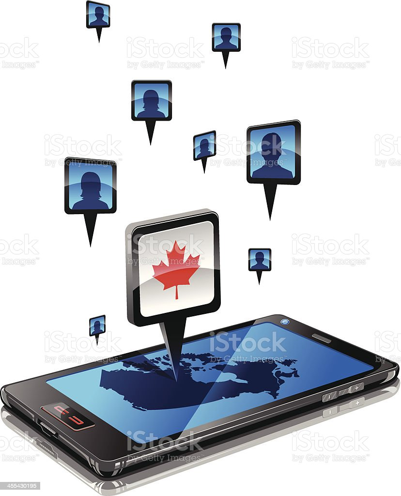 Mobile Social network in Canada royalty-free stock vector art