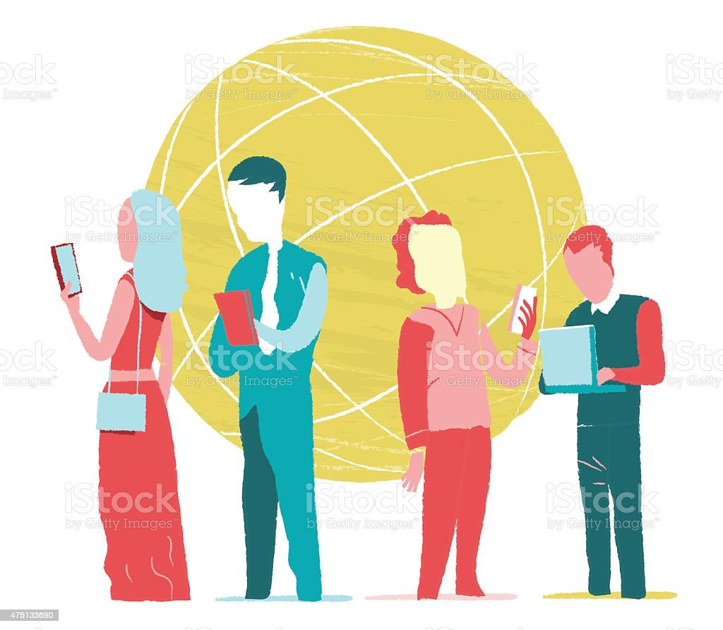 Mobile Society vector art illustration