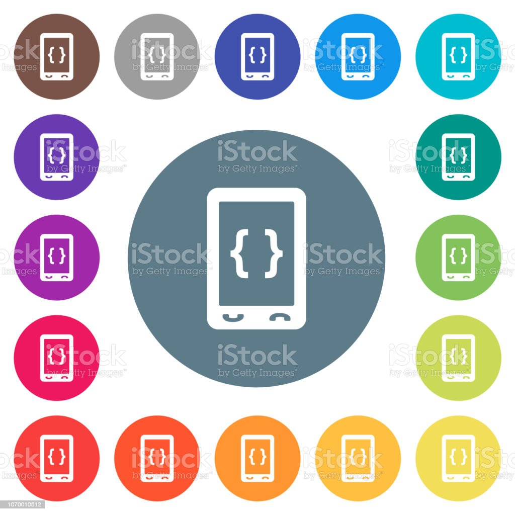 Mobile Software Development Flat White Icons On Round Color