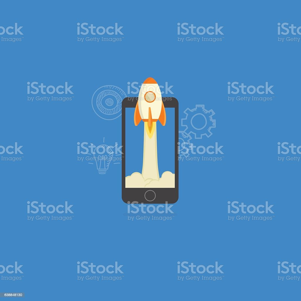 Mobile Startup Illustration vector art illustration