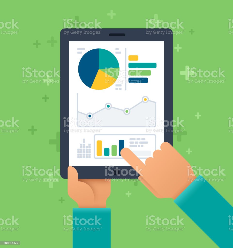 Mobile Statistics vector art illustration