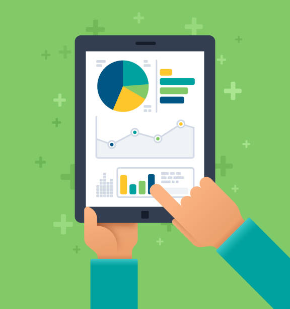 mobile statistics - tablet stock illustrations