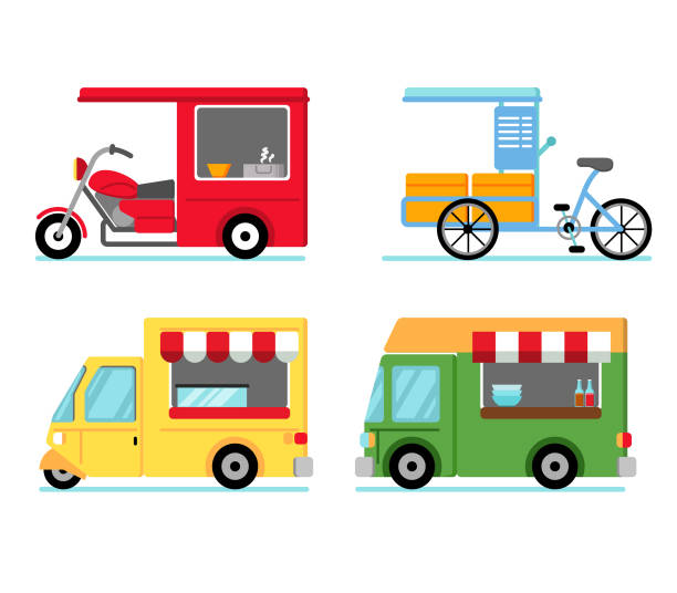 Mobile Street Food Shop Various of street food stall use vehicle three wheel motorcycle stock illustrations