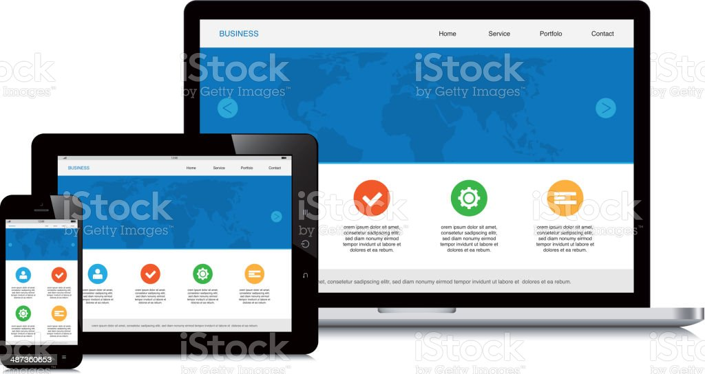 mobile, tablet and laptop responsive webdesign isolated background vector art illustration