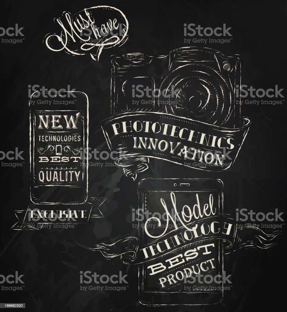 Mobile tablet device cameratechnologies chalk icons royalty-free stock vector art