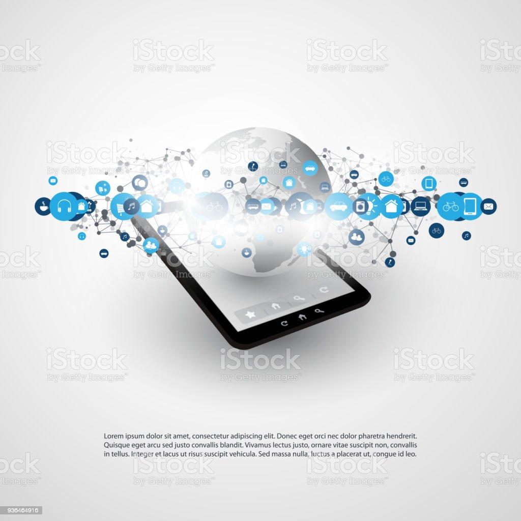 Mobile Technologie, Internet der Dinge-Design-Konzept mit Symbolen – Vektorgrafik