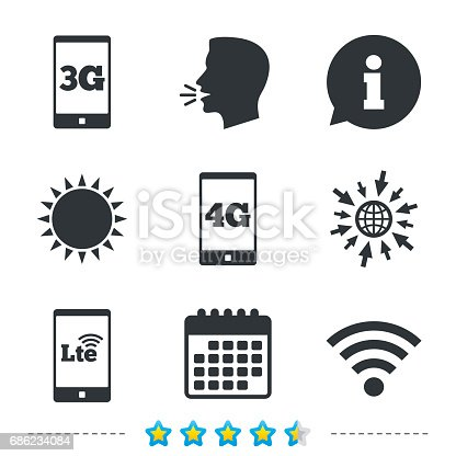 istock Mobile telecommunications icons. 3G, 4G and LTE. 686234084