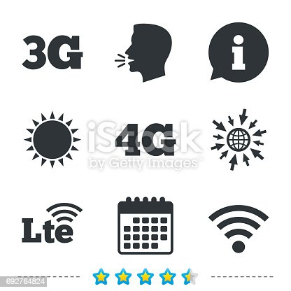 istock Mobile telecommunications icons. 3G, 4G and LTE. 692764824