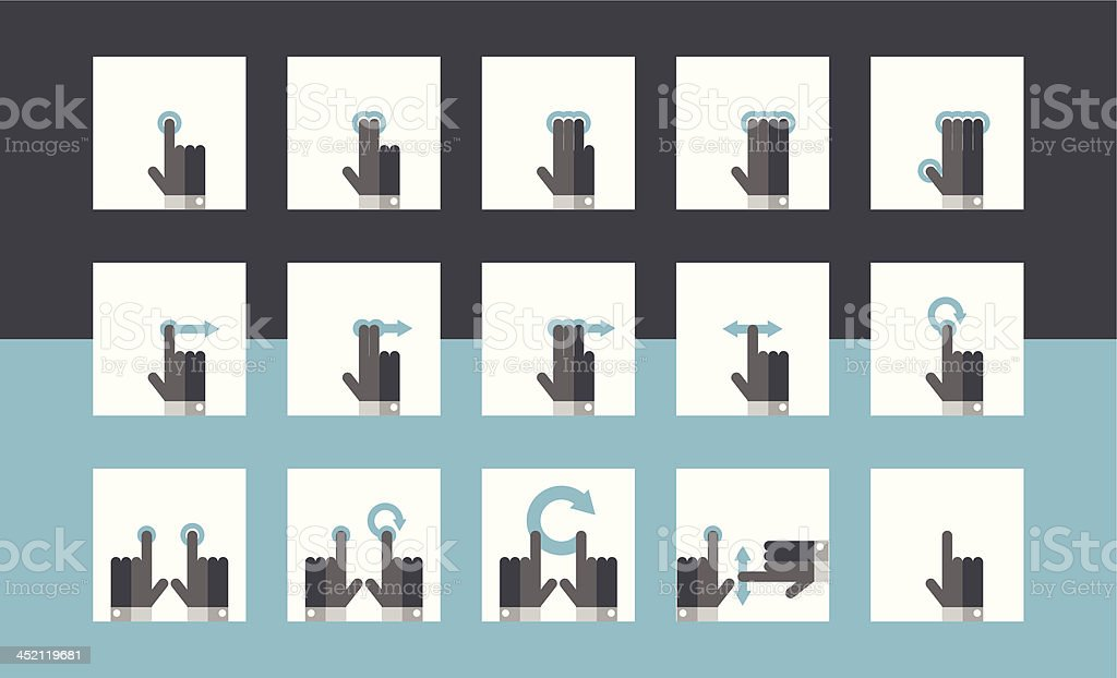 Mobile Touch Gesture Icons vector art illustration