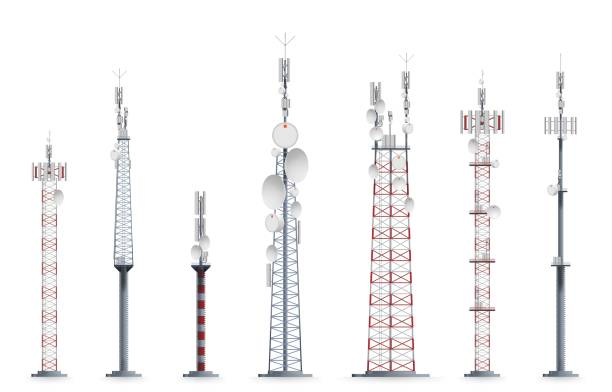 Mobile tower set isolated on white background Mobile tower. Transmission cellular towered construction illustration. Mobile tower with satellite communication antenna. Vector TV radio network broadcast equipment set isolated on white background repeater tower stock illustrations