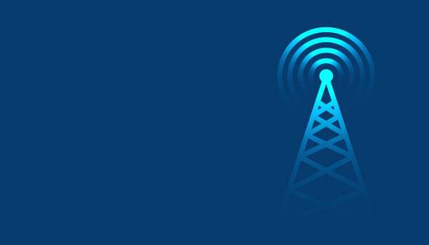 mobile tower transmission radar technologie hintergrunddesign - rundfunk stock-grafiken, -clipart, -cartoons und -symbole