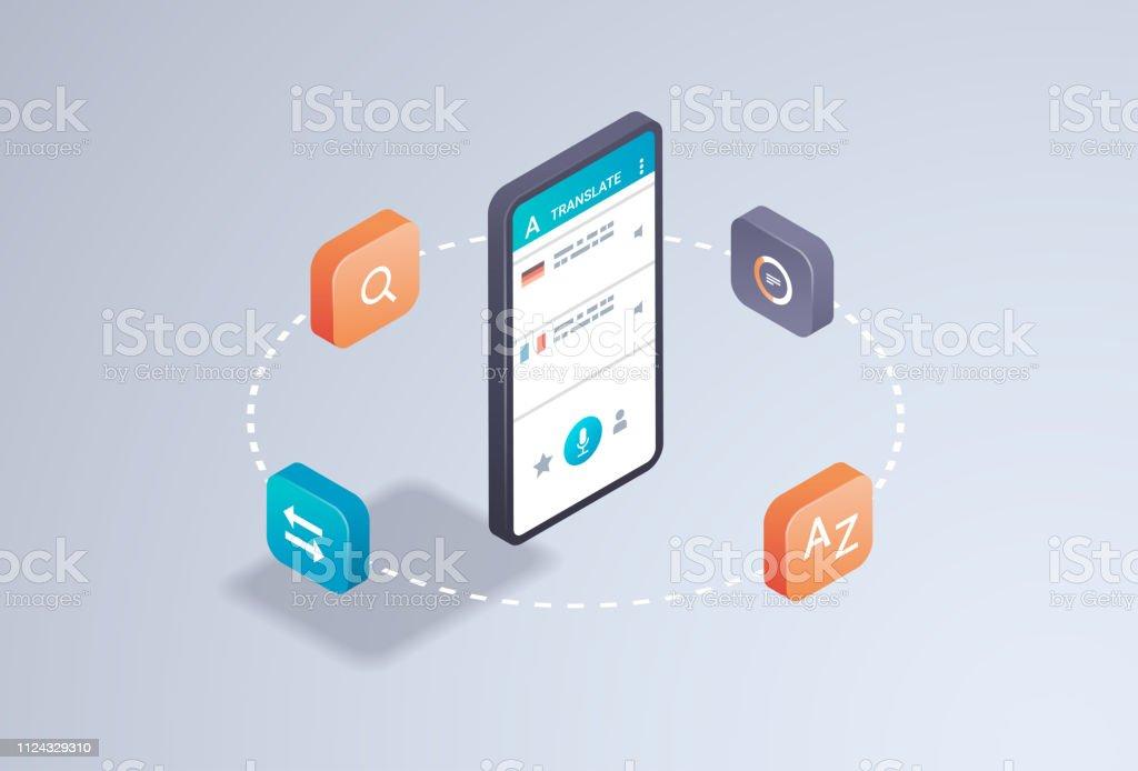 Mobile Translator Application Online Translation Concept