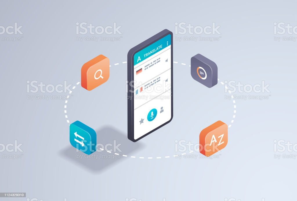mobile translator application online translation concept smartphone screen internet dictionary learning language app 3d isometric flat horizontal vector illustration vector art illustration