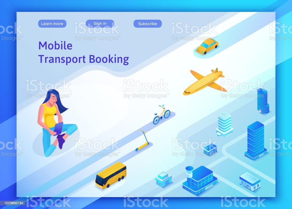 Mobile Transportation Online Service Landing Page Template Travel ...