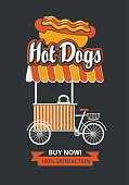 Vector banner with bicycle shop for selling hot dogs in retro style on black background. Street vendor hot dogs, stall on wheels. Fast food, healthy and unhealthy food