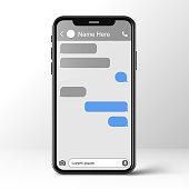 istock Mobile ui kit messenger. Chat app template. Social network concept. Mock up 1319399359