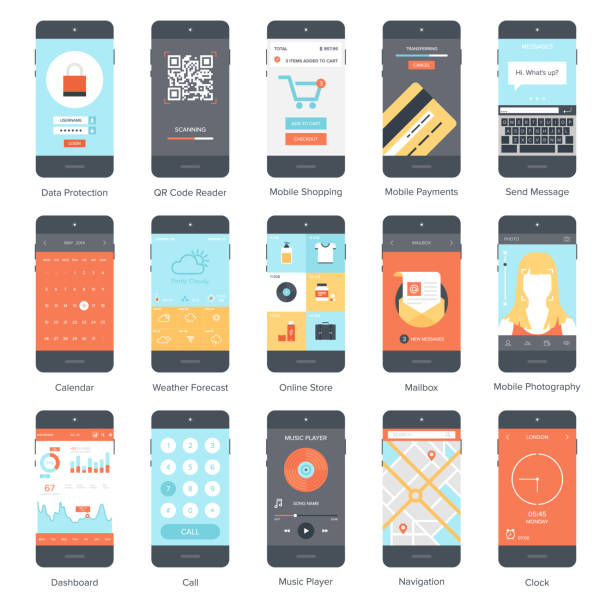Mobile UI set vector art illustration