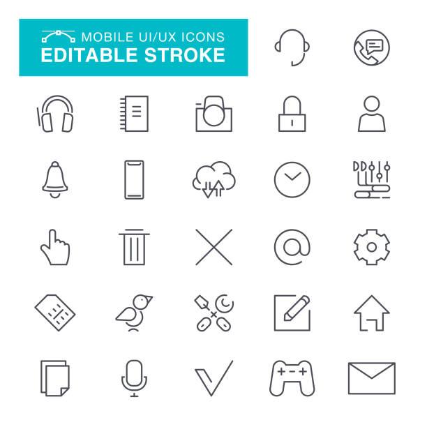 mobile-benutzeroberfläche ux symbole editierbare schlaganfall - fotografieanleitungen stock-grafiken, -clipart, -cartoons und -symbole