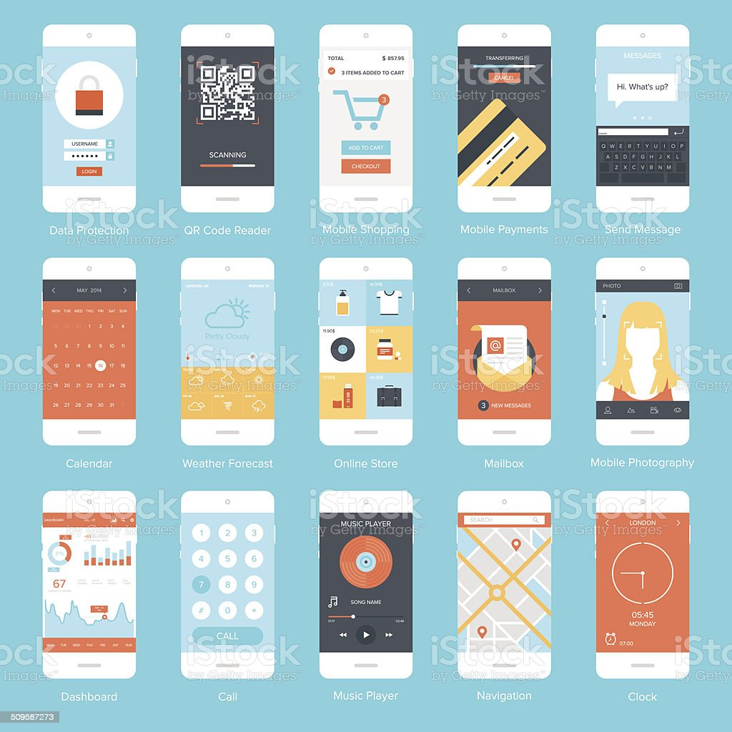 Mobile UI. vector art illustration
